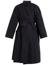 Lemaire - High-neck Tie-waist Cotton Coat - Lyst