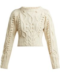 SPENCER VLADIMIR - Cable Knit Merino Wool Blend Cropped Sweater - Lyst