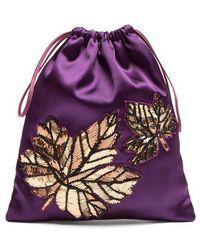 Attico - Embellished-leaf Satin Pouch - Lyst
