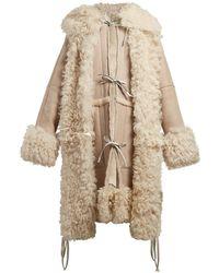 Loewe Tie Front Hooded Shearling Coat