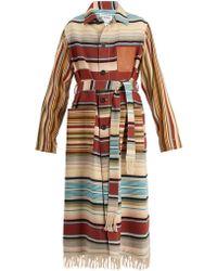 Loewe | Frayed Patch-pocket Striped Robe Coat | Lyst