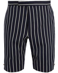 Thom Browne - Striped Wool-blend Shorts - Lyst
