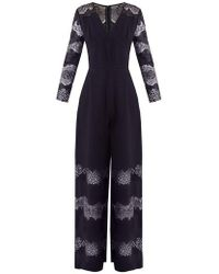 Huishan Zhang - Faye Lace-panelled Crepe Jumpsuit - Lyst