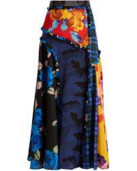 dbd1f03829 MSGM - Panelled Printed Crepe De Chine Midi Skirt - Lyst