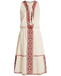 Melissa Odabash - Gwyneth Lace-up Embroidered-cotton Dress - Lyst