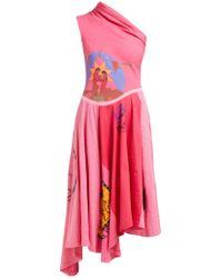Marine Serre Patchwork One Shoulder Cotton Jersey Dress - Pink