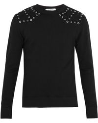 Valentino - Eyelet-embellished Cotton-blend Sweatshirt - Lyst