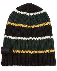 f9556fe78c6 Lyst - Prada Knit Striped Beanie in Black for Men
