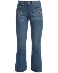 Bliss and Mischief - Sunrise Embroidered High Rise Cropped Jeans - Lyst