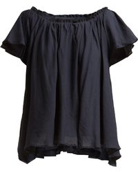 Loup Charmant - Ruffle Trimmed Cotton Top - Lyst
