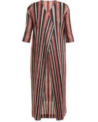 Pleats Please Issey Miyake - Union Stripe Pleated Coat - Lyst
