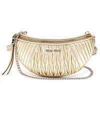 Miu Miu - - Mattelassé Quilted Leather Belt Bag - Womens - Gold - Lyst