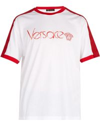 Versace - Logo-embroidered Cotton-jersey T-shirt - Lyst