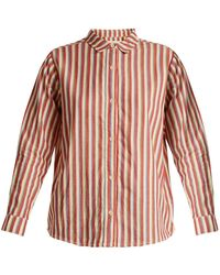 The Great - The Campus Striped Cotton Shirt - Lyst