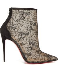 6b4f3b60099c Christian Louboutin - Psybootie 100 Embroidered Mesh Ankle Boots - Lyst