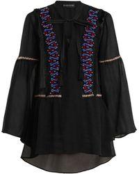 Etro - Bead-embellished Bell-sleeved Sheer-silk Blouse - Lyst