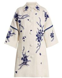 Andrew Gn - Floral-embroidered Linen Coat - Lyst