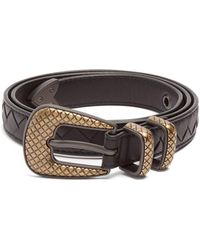 Bottega Veneta | Intrecciato Skinny Leather Belt | Lyst