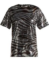 Halpern - Zebra Patterned Sequinned T Shirt - Lyst
