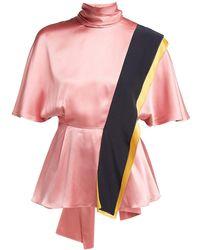 ROKSANDA - Contrast Panel Draped Silk Top - Lyst