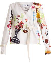 Loewe - Floral And Fruit Print Tie Waist Jacket - Lyst