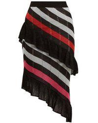 Marco De Vincenzo - Asymmetric Striped Knit Skirt - Lyst