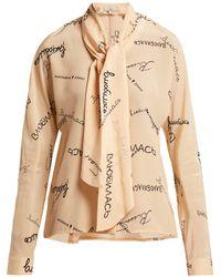 Natasha Zinko - Graphic Print Scarf Tie Silk Blouse - Lyst