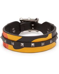 Valentino - Rockstud Camouflage Leather And Canvas Bracelet - Lyst