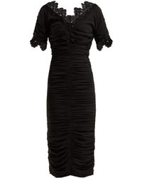 Dolce & Gabbana - Ruched Silk-georgette Midi Dress - Lyst