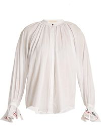 Bliss and Mischief - Cherry Embroidered Cotton Voile Shirt - Lyst