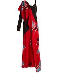 Diane von Furstenberg - Farren Asymmetric Floral-print Stretch-silk Dress - Lyst