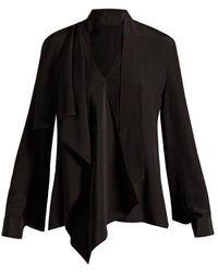 Fendi - V-neck Draped Silk Blouse - Lyst