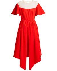 Delpozo - Tulle-panel Asymmetric Midi Dress - Lyst