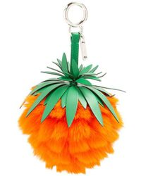Fendi - Pineapple Leather And Fur Bag Charm - Lyst