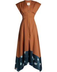 ROKSANDA - Mituva Deep V-neck Butterfly-hem Poplin Dress - Lyst
