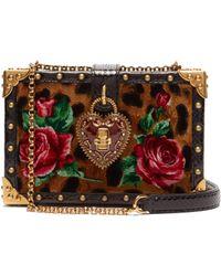 e6dfd5190b2dea Dolce   Gabbana - Leopard Print My Heart Velvet Box Clutch Bag - Lyst