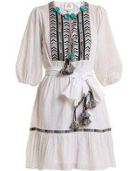 Figue - Svana Geometric Embroidered Cotton Dress - Lyst