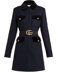 Gucci - Velvet Trimmed Single Breasted Wool Coat - Lyst