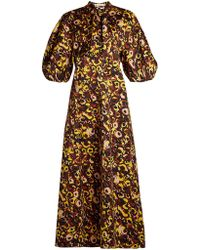 Marni - Floral Print Tie Neck Cotton Dress - Lyst