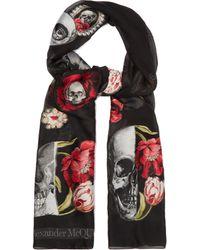 Alexander McQueen Rose And Skull Appliqué Chiffon Scarf - Black