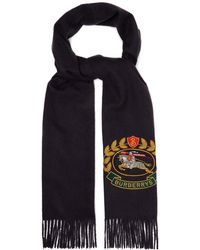 Burberry - Crest Embroidered Cashmere Scarf - Lyst