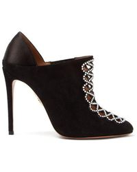 Aquazzura - Amour 105 Suede And Satin Booties - Lyst