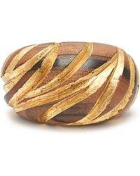 Saint Laurent - Engraved Wooden Cuff - Lyst