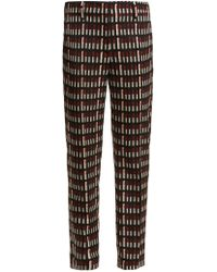 Prada - Lipstick-print Wool-blend Trousers - Lyst