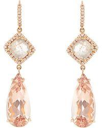 NSR Nina Runsdorf - Diamond, Morganite & Pink Gold Earrings - Lyst