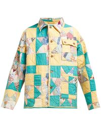 Bode - Patchwork Single Breasted Cotton Jacket - Lyst
