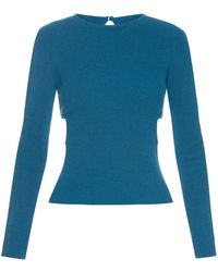 Emilia Wickstead - Heidi Cut Out Sides Ribbed Knit Sweater - Lyst
