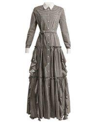 Sara Battaglia - Gingham Cotton Dress - Lyst
