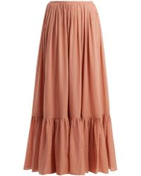 Loup Charmant - Flores Tiered Cotton Maxi Skirt - Lyst