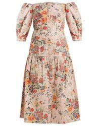 Rebecca Taylor - Off-the-shoulder Floral-print Cotton-blend Dress - Lyst